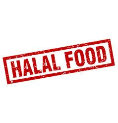 Square grunge red halal food stamp vector