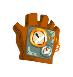 Steampunk leather glove with measuring devices vector