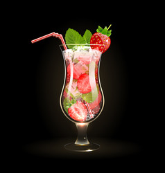 strawberry mojito cocktail vector image