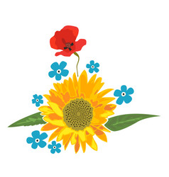 sunflower and poppy full color flower arrangement vector image