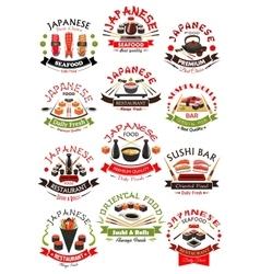 Sushi seafood sashimi icons set vector