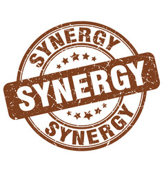 Synergy brown grunge stamp vector