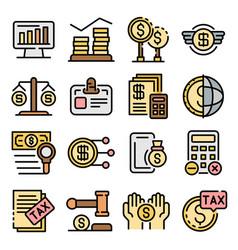 tax regulation icons set flat vector image