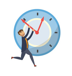 Tired businessman holding clock hand vector