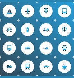 Transport icons colored set with aircraft vector