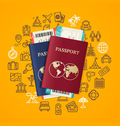 travel and tourism concept card with passport vector image