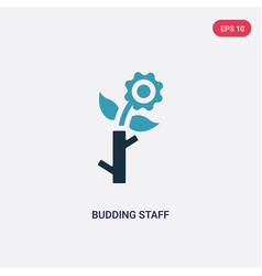 Two color budding staff icon from religion vector