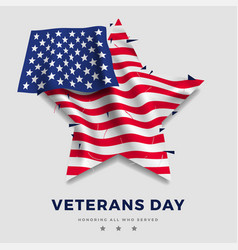 veterans day poster realistic flag america vector image