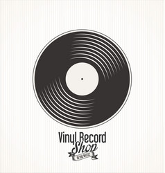 Vinyl record retro vintage laurel wreath badge 4 vector