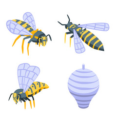 Wasp icons set isometric style vector