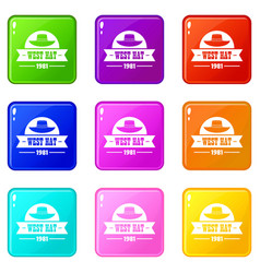 West hat icons set 9 color collection vector