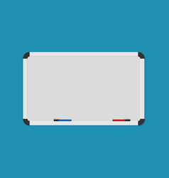 Whiteboard background frame with marker in flat vector