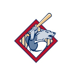 Wild dog or wolf playing baseball batting bat vector