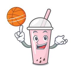 with basketball raspberry bubble tea character vector image