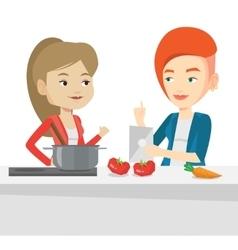 Women cooking healthy vegetable meal vector