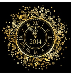 2014 - shiny New Year Clock vector image vector image