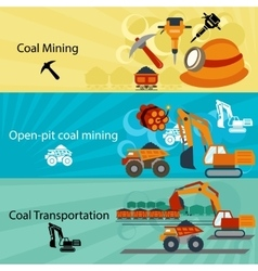 Coal industry banners set vector image