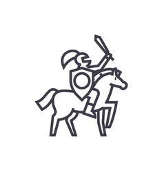 knight line icon sign on vector image