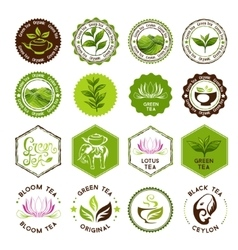 Tea stamps collection green and black tea badges vector