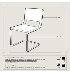 chair blueprint background vector image