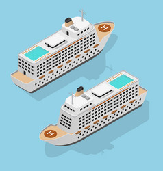 Cruise liner set isometric view vector