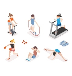 Fitness women in gym gymnastics workout and yoga vector image vector image