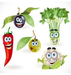 Funny cute vegetables smiles celery cauliflower vector image vector image