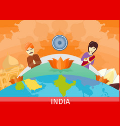 india travel poster vector image vector image