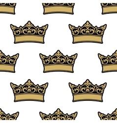 Royal golden crowns seamless pattern vector