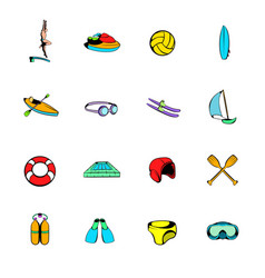 water sport icons set cartoon vector image vector image