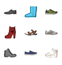 a set of icons on a variety of shoesdifferent vector image vector image