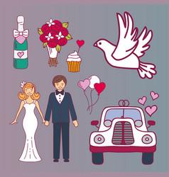 Bride and groom wedding couple marriage nuptial vector