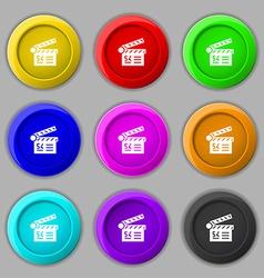 Cinema movie icon sign symbol on nine round vector image vector image