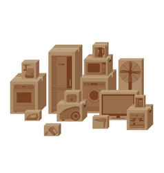 household appliances in boxes vector image