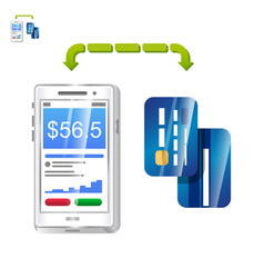 Mobile payment with phone app and cards vector