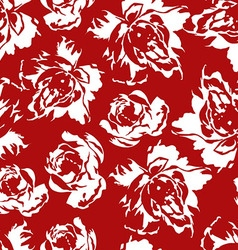 Seamless floral pattern of white roses on a red vector image