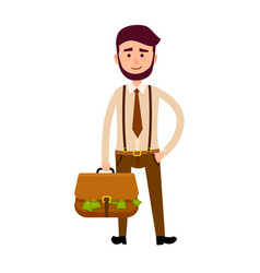 bisnessman with bag full of money vector image