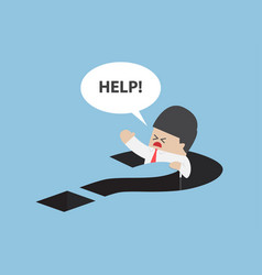 businessman falling in question mark hole vector image