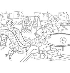 childrens playground coloring vector image vector image
