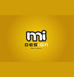 mi m i alphabet letter combination digit white on vector image vector image