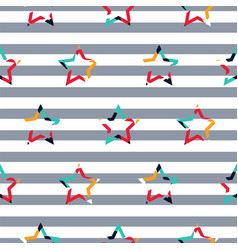 striped star camo boy seamless pattern vector image