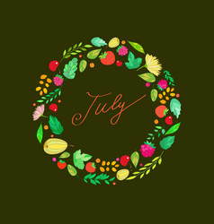 with the image of july lettering in vector image