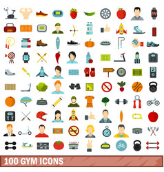 100 gym icons set flat style vector image