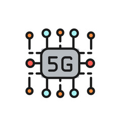 5g internet technology wireless chip flat color vector image