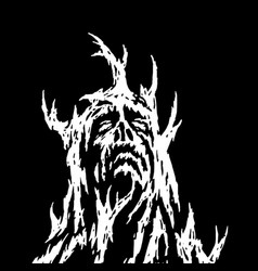 A demon with branches growing from it looks up vector