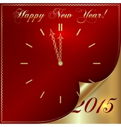 abstract New Year golden clock on dark red vector image