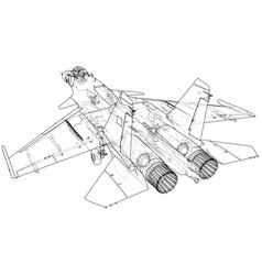 Air jet fighter with missiles on white background vector