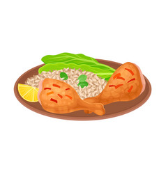 Appetizing thai food rice with fried chicken vector