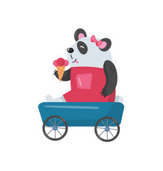 baby girl panda sitting in toy wagon and eating vector image