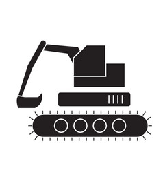 backhoe loader black concept icon backhoe vector image
